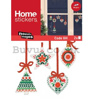 Christmas glass sticker - Traditional ornaments