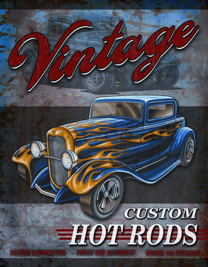 Metal sign - Custom Hot Rod