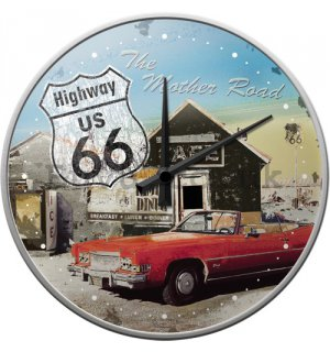 Retro wall clocks - Route 66 Red Car