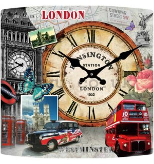 Glass wall clock - London (1)