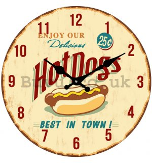 Glass wall clock - Hot Dogs