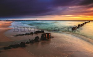 Wall Mural: Colourful beach sunset - 184x254 cm