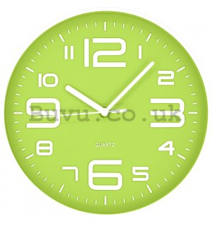 Wall clock: Green-white - 25 cm