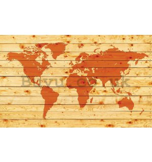 Wall Mural: Wooden map of the world - 254x368 cm