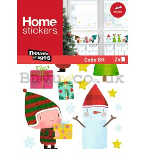 Christmas glass sticker - Elfs and gifts
