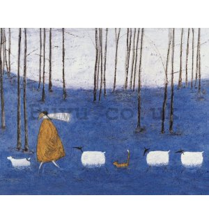 Painting on canvas: Sam Toft, Tiptoe throgh the Bluebells