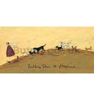 Painting on canvas: Sam Toft, Walking Down to Happiness