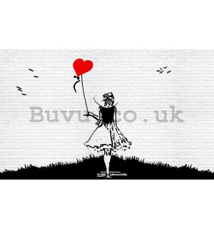 Wall Mural: A girl with balloon - 184x254 cm