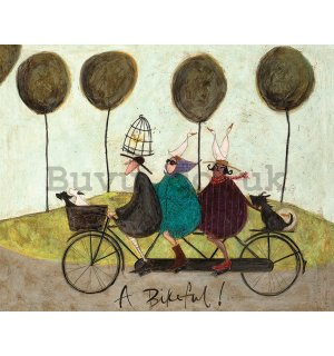 Painting on canvas: Sam Toft, A Bikeful!