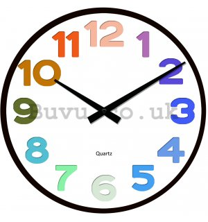 Glass wall clock - Color Numbers