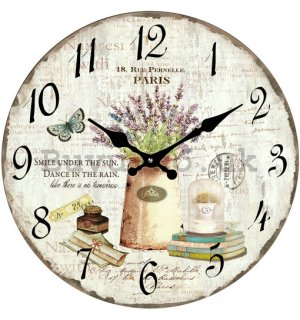 Glass wall clock - Still Life with Lavender