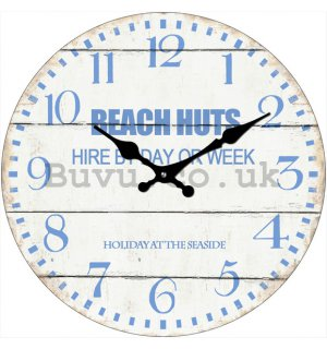 Glass wall clock - Beach Huts