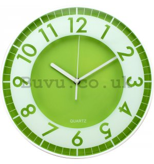 Wall clock: Modern (green-white) - 30 cm