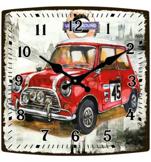 Glass wall clock - Mini Cooper