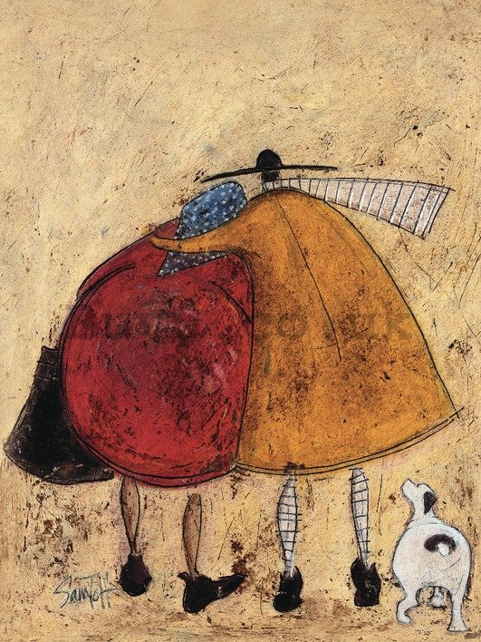 Painting on canvas: Sam Toft, Hugs on the Way Home