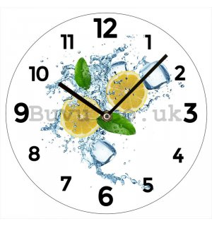 Glass wall clock: Fresh Lemons - 30 cm