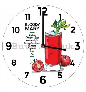 Glass wall clock: Bloody Mary - 34 cm