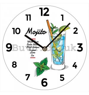 Glass wall clock: Mojito - 30 cm