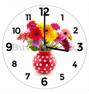 Glass wall clock: Flowers - 34 cm