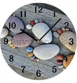 Glass wall clock: Pebble tracks - 30 cm