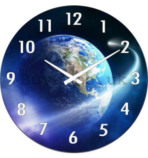 Glass wall clock: Planet Earth - 30 cm