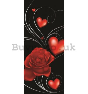Photo Wallpaper Self-adhesive: Roses and heart - 211x91 cm