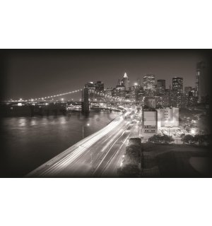 Wall Mural: Brooklyn Bridge Black & White (1) - 184x254 cm