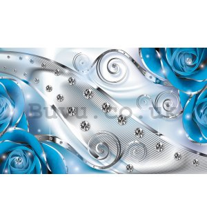 Wall Mural: Luxurious abstract (blue) - 254x368 cm