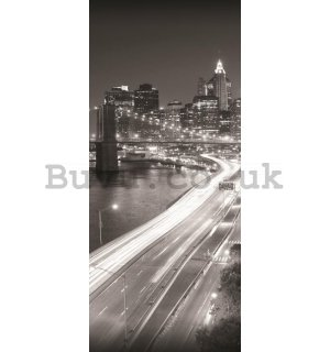 Photo Wallpaper Self-adhesive: Brooklyn Bridge Black & White - 211x91 cm