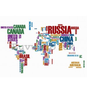Wall Mural: Map of the worlds (names of the states) - 184x254 cm