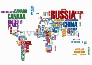 Wall Mural: Map of the worlds (names of the states) - 254x368 cm