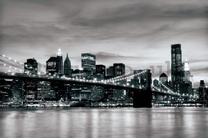 Wall Mural: Black & White Brooklyn Bridge - 184x254 cm