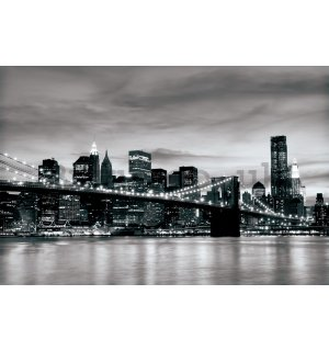 Wall Mural: Black & White Brooklyn Bridge - 254x368 cm