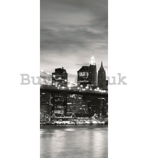 Wall Mural: Black & White Brooklyn Bridge - 211x91 cm