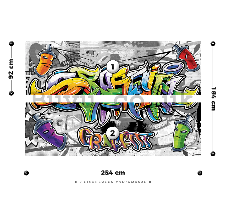 Wall Mural: Colour graffiti - 184x254 cm