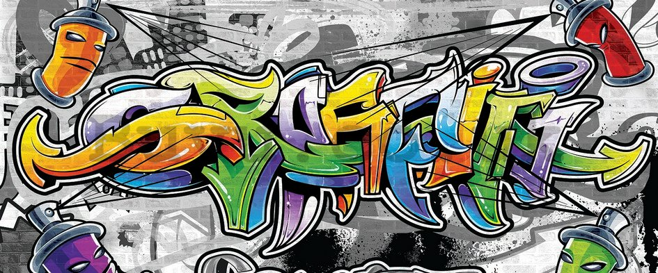 Wall Mural: Colour graffiti - 104x250 cm