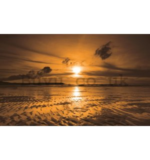 Wall Mural: Sunset at the beach (1) - 184x254 cm