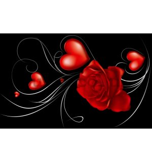 Wall Mural: Rose and Heart - 184x254 cm