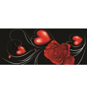 Wall Mural: Rose and Heart - 104x250 cm
