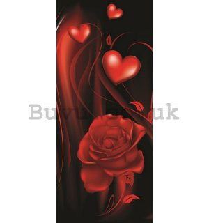 Wall Mural: Heart with rose - 211x91 cm