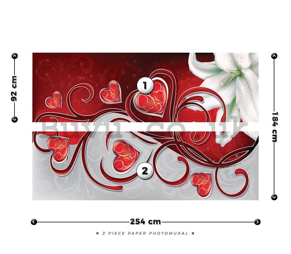 Wall Mural: Little hearts and lily (1) - 184x254 cm