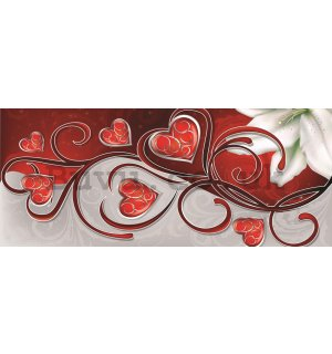 Wall Mural: Little hearts and lily (1) - 104x250 cm