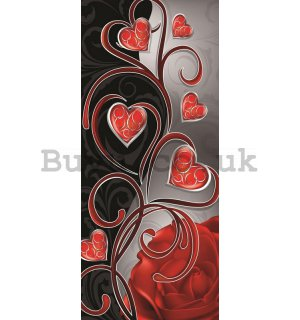 Wall Mural: Little hearts and lily (2) - 211x91 cm