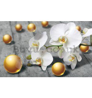 Wall Mural: Orchid and yellow marbles - 254x368 cm