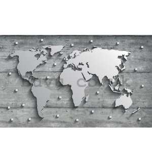 Wall Mural: Metal map of the world - 254x368 cm
