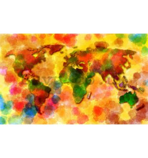 Wall Mural: Colourful map of the world - 184x254 cm