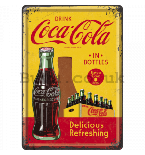 Metal postcard - Coca-Cola (In Bottles Yellow)