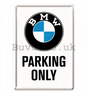 Metal postcard - BMW Parking Only White