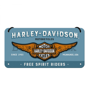 Wall hanging sign: Harley-Davidson (Free Spirit Riders) - 10x20 cm