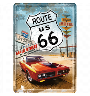 Metal postcard - Route 66 (Red car)